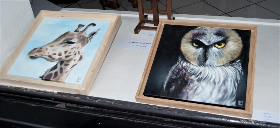 Une petite sélection des oeuvres de l'artiste Evelyne Lair dans la vitrine de la galerie l'Art'monie